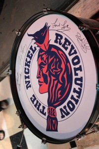 Reunion drum head was signed by each member